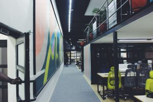 Industrial mezzanine space in the office