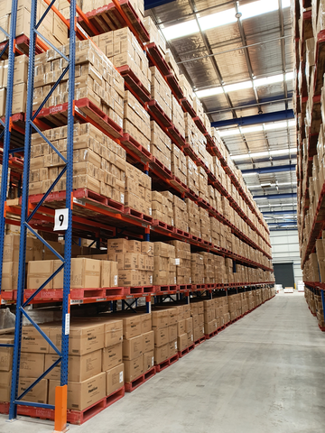 boxes stacked in a warehouse